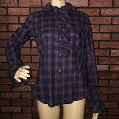 "Ruffle plaid button down blouse S I call this flaid - or fancy plaid. Gives an otherwise plaid and maybe not work appropriate blouse a fancier look! Pair with jeans or pants, either way the blouse is your focal point and is so beautiful! 100% cotton. Approx 17"" bust. ✅offers❌trades/PP bundles save 20% off 2+ Ralph Lauren Tops Button Down Shirts"