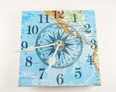 Upcycled Tile Clock. Nautical Compass On Map Page. 6 X 6 Inches Salvaged