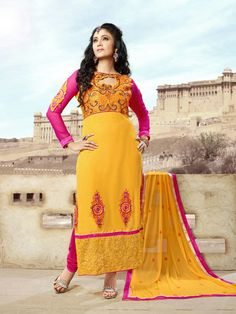 Georgette Straight Long Suit with heavy embroidery work. For more information call or whats app @ +91-9716727326