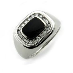 Mens Square Face Faux Onyx Sterling Silver Ring Size 10 -- Click image to review more details.