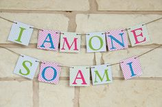 Birthday Banner for Twin One Year Birthday - Cake Smash Photo Prop via Etsy