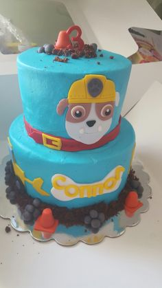 """""""Rubble"""" from Paw Patrol birthday cake!"""