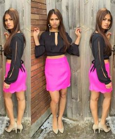 Double Zero HYFVE Collection-Scallop hot pink skirt and Mustard Seed crop chiffon top!