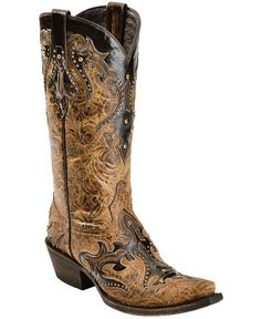 "Lucchese 1883 ""Diabla"" Design Swarovski Crystal Cowgirl Boots - Snip Toe"