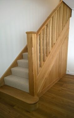 North east stairs can transform your existing staircase balustrade into a beautiful, handcrafted feature for the fraction of the cost of a replacement staircase. Solid oak staircase balustrades, oak and glass and oak stop chamfer. Loft Staircase, Timber Staircase, Oak Stairs, Staircase Design, Interior Staircase, Home Renovation, Home Remodeling, Home Design Programs, Narrow Hallway Decorating