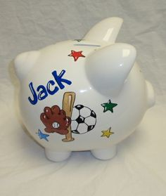 Our classic multi sports piggy bank. Personalized just for them. We can include their name, birth date, weight, height and even incorporate your favorite team. $30