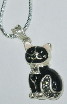 925 Silver Plate Black Enamel Cat Kitty Pendant Necklace Rhinestone Collar Tail #Unbranded