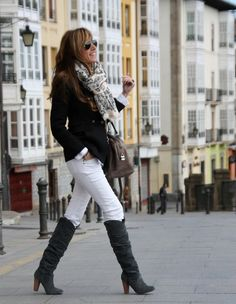 Winter: my basic nude top, white jeans, tan boots, black blazer, B&W scarf