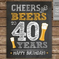 40th Birthday Party Decor Cheers to 40 Years Birthday | Etsy 40th Birthday Images, 40th Birthday Decorations, 40th Birthday Invitations, Gold Birthday Party, 40th Birthday Parties, Cheers And Beers To 40 Years, 1st Birthday Chalkboard, Party Signs, Party Printables