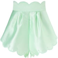 Alice McCall Lime Cupid Wed Shorts ($96) ❤ liked on Polyvore featuring shorts, bottoms, green, pants, short, alice mccall, eyelet shorts, scalloped edge shorts, scalloped shorts and green shorts