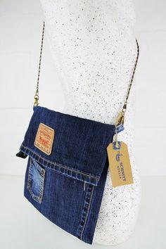Your place to buy and sell all things handmade Denim Tote Bags, Denim Handbags, Denim Purse, Mochila Hippie, Reuse Jeans, Cut Shirt Designs, Blue Jean Purses, Denim Ideas, Denim Crafts