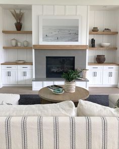 A boutique interior design firm in Westfield NJ. Principal designer Ellie Mroz takes a thoughtful and personal approach to interior design with a light, bright, layered, laid-back and luxe vibe. Built In Around Fireplace, Fireplace Built Ins, Home Fireplace, Fireplace Design, Fireplace With Shelves, Fireplace Remodel, Fireplaces, Living Tv, Home Living Room