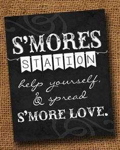 S'mores Sign with Frame - White Wood Frame Included - Smores Station Print - Rustic Country Chalkboard Texture - Chalk Writing - Wedding