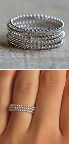 Silver Beaded Stacking Ring Set ♥