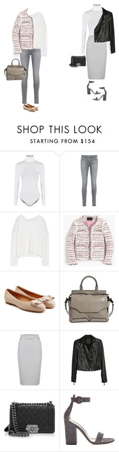 """""""Lunch dates"""" by yuenchewwan ❤ liked on Polyvore featuring Wolford, AG Adriano Goldschmied, Helmut Lang, J.Crew, Salvatore Ferragamo, rag & bone, WtR London, Paige Denim, Chanel and Gianvito Rossi"""