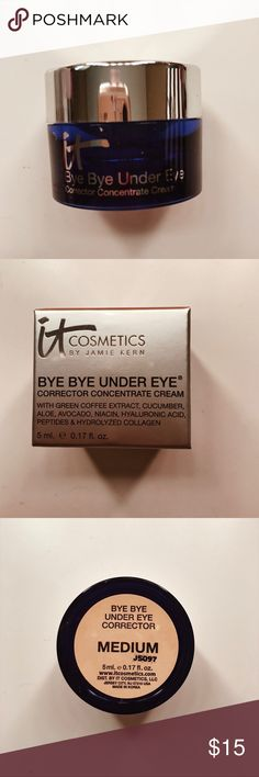It Cosmetics Bye Bye Undereye in Medium This product is perfect for under your eyes to get rid of discoloration and darkness. This product has never been used and is in its original packaging. This is for someone with a medium skin color. Selling this because the color doesn't match me. It Cosmetics Makeup Foundation