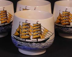 Sake Tea Cups Set 4 Japanese Nautical Trade Sailing Ships Ocean Signed Artist