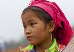 Flower Hmong Young Girl With Pink Headscarf, Sapa, Vietnam