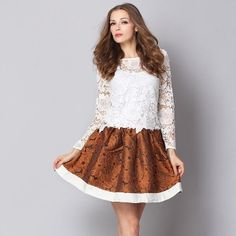 Openwork Lace Two Piece Dress White