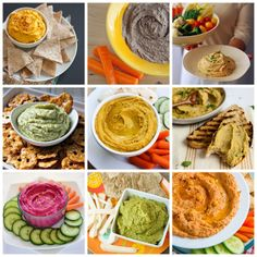 Lots of hummus recipes! Vegetarian Recipes, Cooking Recipes, Healthy Recipes, Good Food, Yummy Food, Tasty, Healthy Snacks, Healthy Eating, Clean Eating Plans