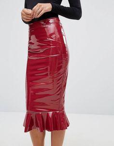 MEGA-Teile von ASOS! Pvc Fashion, Latex Fashion, Fashion Online, Pvc Skirt, Dress Skirt, Midi Skirt, Long Leather Skirt, Leather Peplum, Patent Leather
