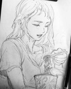 Some Korean food I guess Anime Drawing Styles, Manga Drawing, Drawing Sketches, Cartoon Drawings, Cool Drawings, Sketch Inspiration, Anime Sketch, Art Sketchbook, Cute Art
