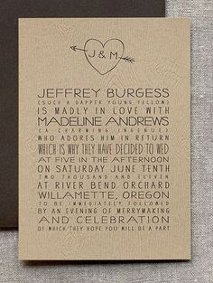 Invites for a outdoorsy feeling wedding