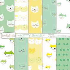 Cute Cats Digital Patterned Paper Pack   -10 Digital Papers -Mint Green + Yellow + White / 6 Cat pattern variations -12x12 300dpi JPG / Suitable for all image programs -Instant Download / 3 compressed ZIP files   ~INSTANT DOWNLOAD~ This is a DIGITAL PRODUCT, no physical product will be sent. Once payment is complete, digital files will be available for download in your Etsy account and an email will be sent to your Etsy registered email. Downloaded products are non refundable.   * The…