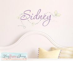 Butterfly Decal with Name Wall Decal for Girls Room Nursery Decor Script Lettering Dots Circles Butterflies Wall Sticker Made in USA