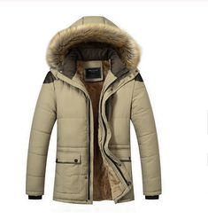 Jmwss QD Mens Single Breasted Winter Loose Fit Thicken Faux Fur Lined Trench Coat Coffee M