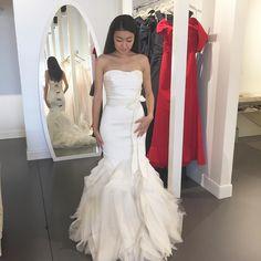"Michelle on Instagram: ""A week of dress trying, wedding talking, giggling fun. Thanks for visiting ! @ahbeechu #bff #weddingdress #verawang #👭 #ipickyouupnextfriday #verawangethel #weddinggown"""