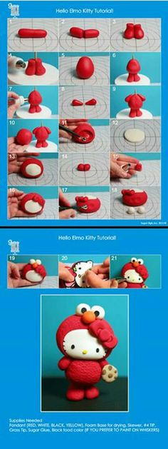DIY Hello Kitty Elmo Tutorial for Polymer Clay, Fimo, Fondant or of E's fav characters! Fimo Clay, Polymer Clay Projects, Polymer Clay Charms, Clay Crafts, Fondant Figures Tutorial, Cake Topper Tutorial, Fondant Toppers, Fondant Cakes, Fondant Bow