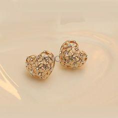 New Flower Heart with Crystal Little Vintage Style Women's Stud Earrings