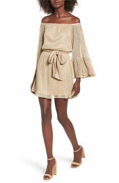 Main Image - Lush Metallic Flare Sleeve Off the Shoulder Dress
