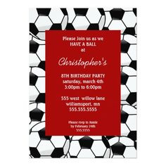 Boys Birthday Party Invitations featuring soccer sports themes- Birthday Invitations for boys and Girls of all age. You can edit the invitation information, fonts and colors all to the right. Send out your child's birthday party announcement with these adorable, ready-to-personalize birthday invitations.