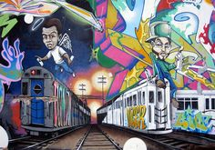 BG183 TATSCRU ART WORK ON CANVAS A VIEW OF THE SUBWAY TRAIN YARDS
