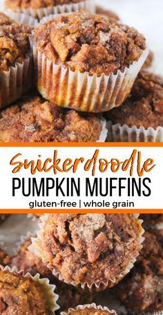 Snickerdoodle Pumpkin Muffins (gluten-free, whole grain) Pumpkin Muffins are taken next level, by making them SNICKERDOODLE Pumpkin Muffins! With pumpkin spice seasoning, pumpkin puree, cinnamon chips Muffins Sans Gluten, Dessert Sans Gluten, Gluten Free Desserts, Dessert Recipes, Pumpkin Gluten Free Muffins, Oat Flour Muffins, 2 Ingredient Pumpkin Muffins, Cake Mix Muffins, Dairy Free Snacks