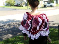 SALE Freeform crochet capelet. Freeform crochet shawl stole poncho. 3D crochet scarf. Shabby boho. Fall fashion