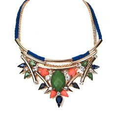 FASHION FALL GORGEOUS WOMEN TRENDY POINTED PLATE FLOWER DESIGN BEADED CHAIN ROPE CRYSTAL STATEMENT NECKLACE by shopluvmeT