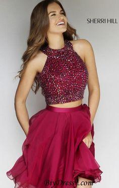 Sherri Hill Burgundy 11290 Two Piece Beaded Short Prom Dress