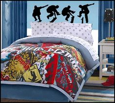 skateboarder theme - skateboard theme room - skateboarding room - skater room decorating ideas - Decorating for teenage boys bedroom - Urban style decorating skateboarding theme - Cityscape urbanite style decorating sports-themed extreme sports-I have these saved in my wish list at amazon for the last couple years:)