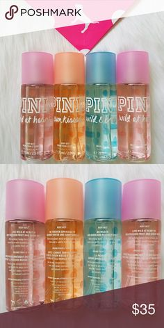 Victoria's Secret PINK Body Mist Travel Set Sprays Victorias Secret PINK Body Mists  Set of 4  All brand new   Each bottle is 2.5 oz  You receive all 4:  Wild at Heart (live wild at heart in red passion fruit & sheer musk)  Sunkissed (be forever sunkissed in coconut water & sunny vanilla)  Wild & Breezy (go wild in red guava & passionfruit)  Wild at Heart (live wild at heart in red passion fruit & sheer musk) PINK Victoria's Secret Accessories