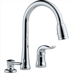 Buy the Delta Chrome Direct. Shop for the Delta Chrome Kate Pullout Spray Kitchen Faucet with MagnaTite Docking, Diamond Seal and Touch Clean Technologies - Includes Soap Dispenser and save. Kitchen Faucet Repair, Pull Out Kitchen Faucet, Kitchen Pulls, Kitchen Sink Faucets, Kitchen Handles, Kitchen And Bath, Bathroom Countertops, Martha Stewart, Contemporary Kitchen Faucets