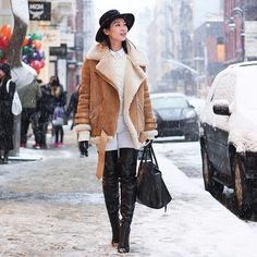 Real-Life Proof That a Shearling Jacket Is This Season's Must Have: We knew as soon as we saw the looks on the Fashion Week runways back in February that shearling-trimmed jackets and coats would be a huge trend once the cold weather hit.