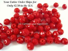 75 Red Opaque Glass Beads Faceted Rondelle by allearringsandsuppli
