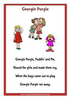 Kissed the girls and made them cry. shame on you Georgie. Nursery Rhymes Lyrics, Old Nursery Rhymes, Nursery Rhymes Preschool, Nursery Songs, Kindergarten Songs, Preschool Songs, Kids Songs, Baby Songs, Nursery Rhythm