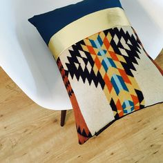 Tribal Pillow Cushion Pendleton Wool southwestern boho chic! Found on She's Happy Design Etsy shop https://www.etsy.com/listing/257948382/boho-aztec-black-beige-teal-blue-tribal