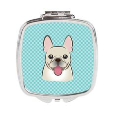 Checkerboard Blue French Bulldog Compact Mirror BB1176SCM
