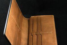 Handmade leather men wallet Hobbit carved leather custom long wallet w | EverHandmade-SR