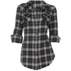 ELIZABETH AND JAMES Plaid Cohen Shirt - Black - 25Park.com ($240) ❤ liked on Polyvore featuring tops, shirts, blusas, blouses, black shirt, elizabeth and james shirt, tartan top, elizabeth and james top and black henley shirt